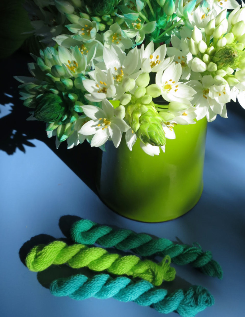 Green-flowers-and-merino-embroidery-thread